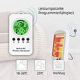 NASHONE Thermostat Steckdose Wireless Steckdosenthermostat, Infrarotheizung Thermostat mit Zeitschaltuhr, Heizung- und Kühlmodus. 3680W - 5
