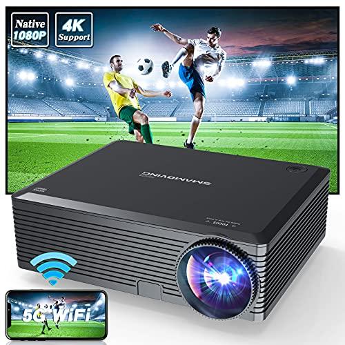 Proyector, SMAMOVING Full HD 1920*1080P Nativo Soporta 4K Proyector Portatil,Proyector Portátil,Compatible con Smartphone ,PC ,TV Box ,HDMI,USB