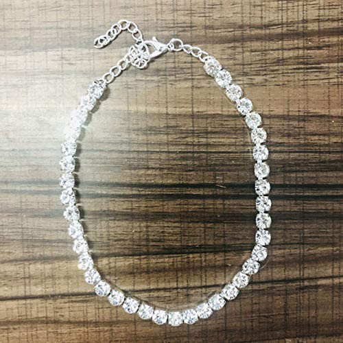 WEIYYY Charm Jewelry Cadena de Tobillera de Tenis con Diamantes de imitación Grande para Mujer Cadena de Tenis de pie de Cristal Simple Tobillera Joyería de Playa, Chapado en Plata