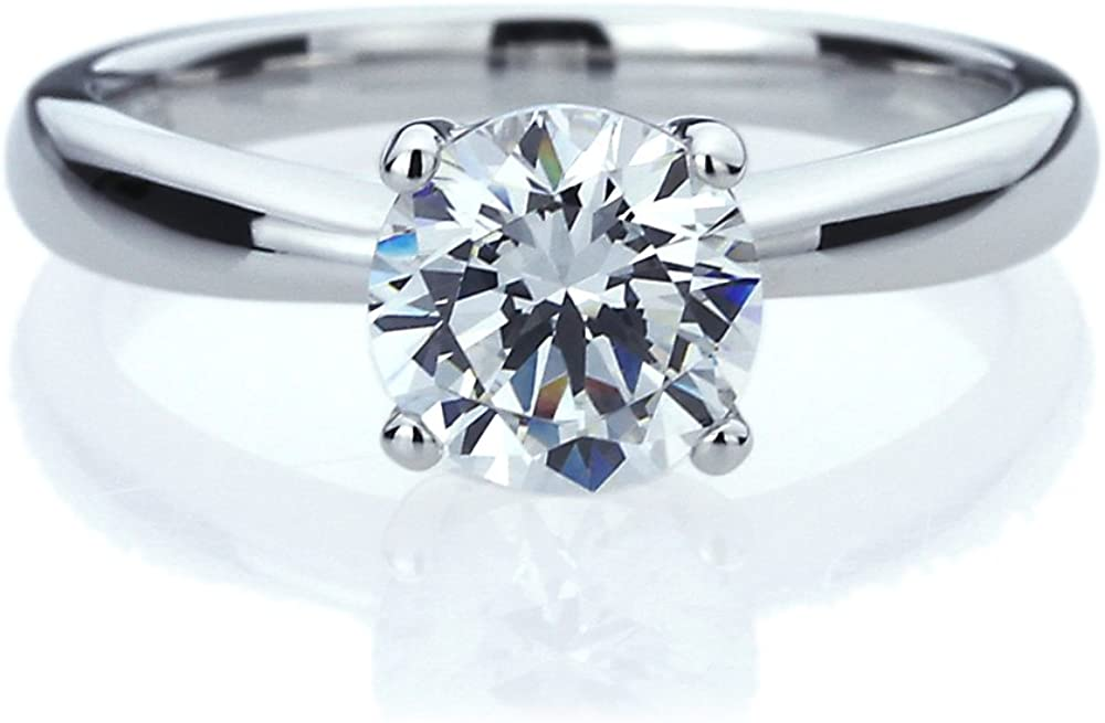 Platinum Plated Sterling Super sale Silver Ring 1.25 C CZ Stone Round carat Max 63% OFF