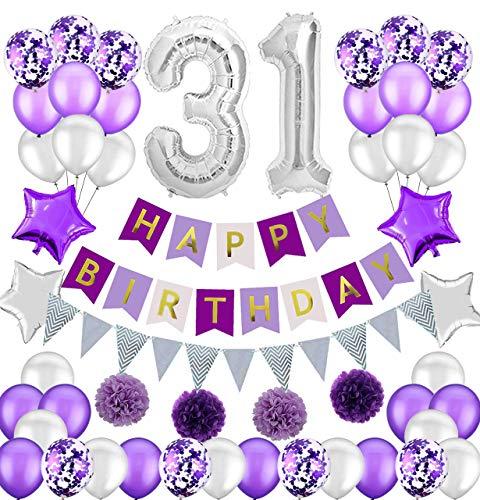 Colorpartyland - Juego de decoraciones de cumpleaños moradas y plateadas, diseño de globos de látex y confeti, color morado