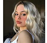 LANOVA Ombre Dark Roots Silver Platinum Grey Wigs for Women Wig Natural Looking Wavy Hair Synthetic Wigs 24 inch LANOVA-101