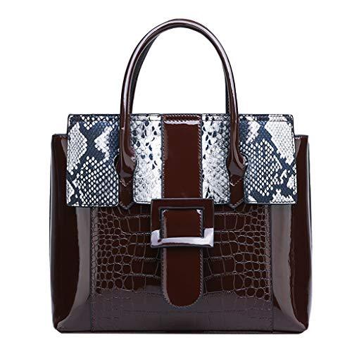DAIFINEY Damen Mode Schlangenhaut Textur Handtasche Shopper Handtasche Elegant Schwarze Groß Damen Tasche für Büro Schule Einkauf(Brown)