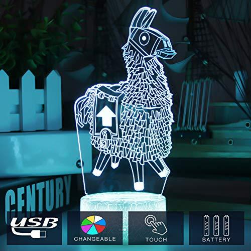 3D Illusion Nachtlampe Lama , 7 Farben ändern Touch Control LED Schreibtisch Tischlampe Dekoration Nachttischlampe für Halloween Weihnachten Geburtstag Baby Kinder,Wohnkultur Geschenk (Alpaka)