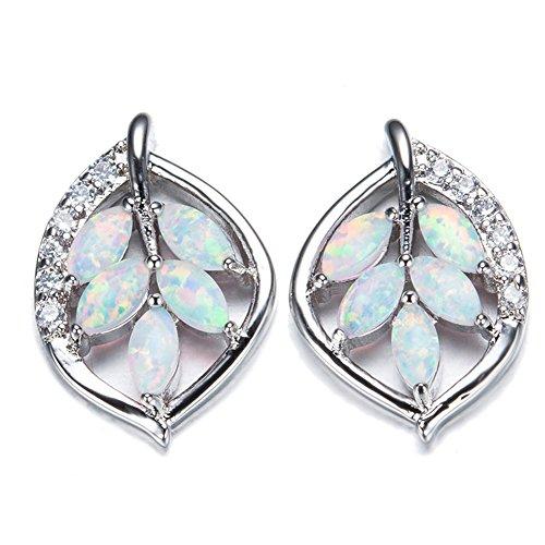 OMZBM Erstellt Opal Blätter Ohrringe Einzigartige Sterling Silber Kleine Ohrstecker Schmuck Frauen Mädchen,White