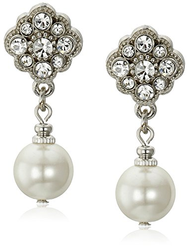 1928 Jewelry Simulated Pearl and Crystal Drop Earrings One Size