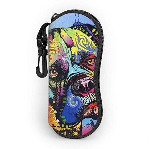 Mastiff Warrior Dean Russian Color Art Fashion Durable Estuche para gafas portátiles Gafas de sol Estuche para lentes con cremallera Estuche rígido para gafas con gancho