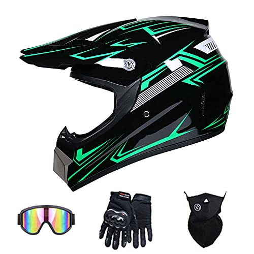 Casco Integral de Motocross Certificado por Dot Adulto Casco Moto Backflip Cascos Dirt Bikes Casco de Moto DH para ATV MX MTB Rally Off-Road Pit Bike (línea Verde),57~58cm L
