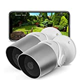 Time2 Outdoor Security Camera, WiFi Wireless IP Cameras, Smart Home Surveillance, 1080p, <span class='highlight'>Motion</span> Sensor, Night Vision, Alexa Support, Remote View, 2 Way Talk (Pack of 2)