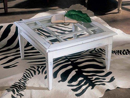 Table basse carrée avec grille et plateau en verre. Construction entièrement artisanale.