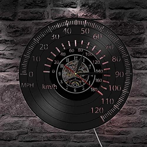 yltian Tacómetro de Carreras Retro Reloj de Arte de Pared velocímetro Reloj de Pared de Registro lámpara de Pared de Carreras de Motos Reloj piloto de Carreras Regalo