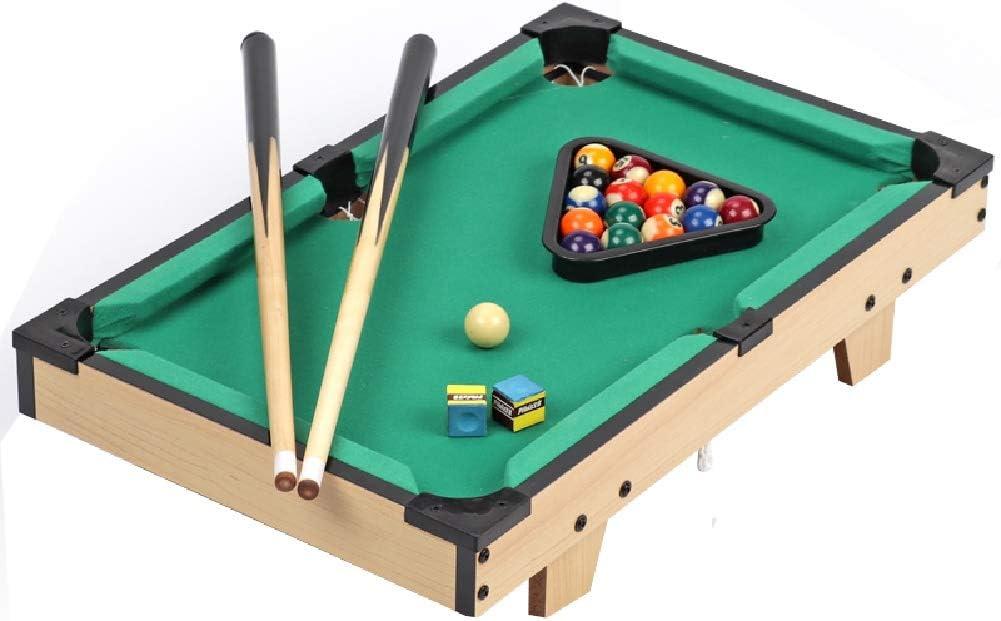 Mesa de billar YYX Madera Mesa mesa de billar for niños, hogar de Billar Juego Juego de Mesa con Tacos, triángulo, Bolas, Cepillo - Verde, al Estilo Americano (Size : 52×32×11cm)