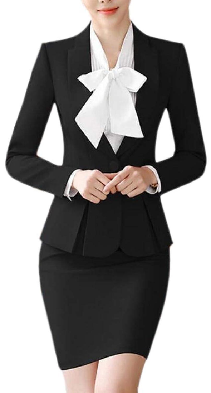 Sodossny-JP 女性のスカート職場オフィス固体色ブレザーbodyconスーツセット