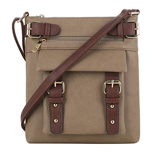 Jessie & James 2 Toned Belt Concealed Carry Crossbody Bag Gunbag Shoulder Purses For Women with Lock and Key | Stone