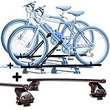 PROPOSTEONLINE Due Portabici per Tetto Auto per Toyota AYGO 5p (2014 in Poi) Porta Biciclette universali in Acciaio Inclusi di Barre Portatutto