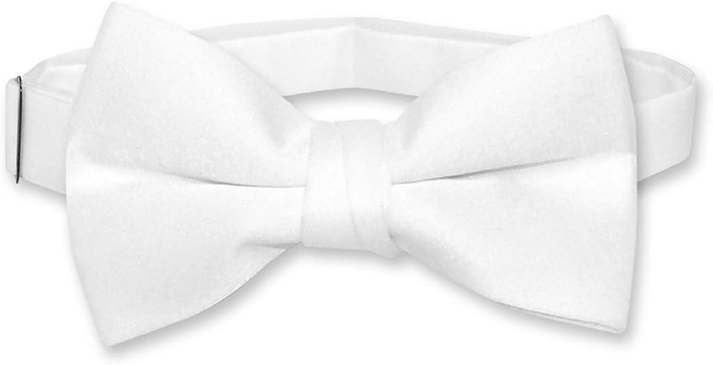 Vesuvio Napoli BOY'S BOWTIE Solid WHITE Color Youth Bow Tie