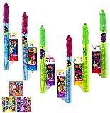 Set de cumpleaños de Trolls, 15 piezas, ideal para cumpleaños infantiles, 6 juegos de 2 espadas de pompas de jabón de 28 cm y 3 pegatinas de 12 pegatinas, ideal para fiestas de cumpleaños
