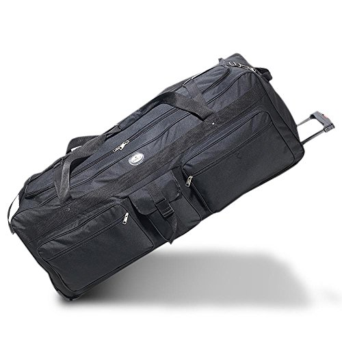 OVERSIZED Rolling Soft Trunk Duffel Bag 42', Everest - Ideal for Camp, OVERSIZED for air travel (Black)