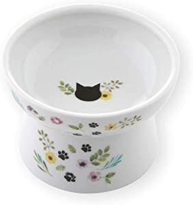 Necoichi Raised Cat Food Bowl, Stress Free, Backflow Prevention, Dishwasher and Microwave Safe, Made to EC & ECC European Standard (Botanical Garden Limited Edition)