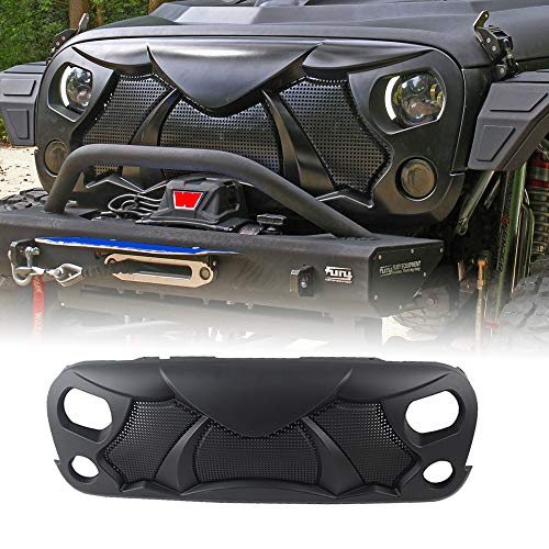 OMUOFFROAD Front Cobra Grille Grid Grill Compatible With Jeep Wrangler Rubicon Sahara Sport JK...