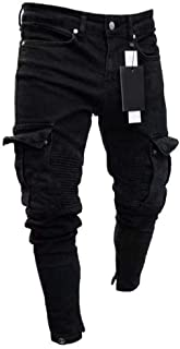 Color : Black, Size : 5 US Lyntop Mens Stretch Biker Ripped Jeans with Zipper Straight Fit Denim Pants