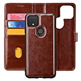 MInCYB Case for Google Pixel 5A, Pixel 5A 5G Wallet Case with RFID Card Holder and Magnetic Detachable Premium Leather Flip Folio Cover - Brown