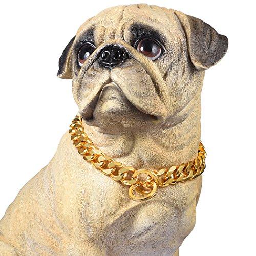 PROSTEEL Collare Cani a Catena Robusta Grande, Collare per Cani Grandi, Placcato in Oro 18K, Larghezza 1,9 cm, Lungehzza 41 cm, Collare alla Moda Hip Hop Cool (Oro)