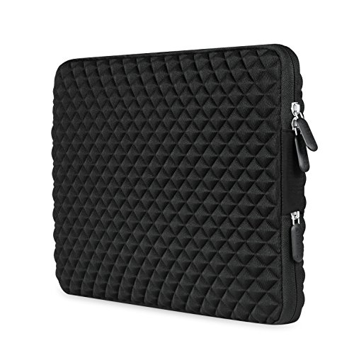 AMNIE Diamond Foam Splash & Shock Resistant Neoprene 15-15.6 Inch Laptop Sleeve Case Bag/ Notebook Computer Case, Black