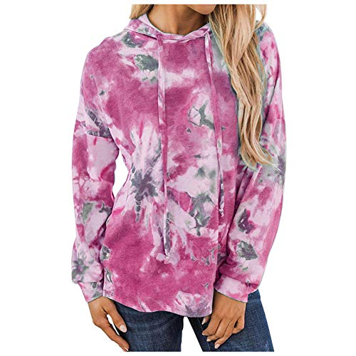 Eaylis Mode Frauen Tie-Dye Print Langarm Bluse Tops Gradient Hooded Sweatshirt