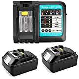 URUN, 2 batterie da 18 V, 5,0 Ah, BL1850, con caricatore 3 A, DC18RC DC18RD, DC18RA, Makita radio da cantiere, DMR100, DMR110, BMR102, ventola a batteria DUB362Z LXT