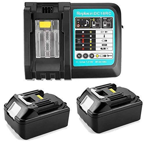 URUN - 2 baterías BL1850 de 18 V y 5,0 Ah con cargador de 3 A DC18RC DC18RD DC18RRA de repuesto Makita DMR100, DMR110, BMR102, ventilador con batería DUB362Z LXT