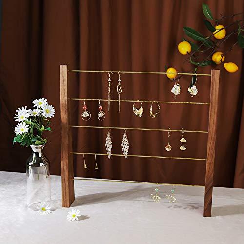 GemeShou Walnut Brass 5 Tier Earring Cardboad Hanger Stud Dangle Hoop Earring Storage Organizer Tabletop Clip on Earring Display Stand 【Walnut-Brass 5-Tier Height 15.6