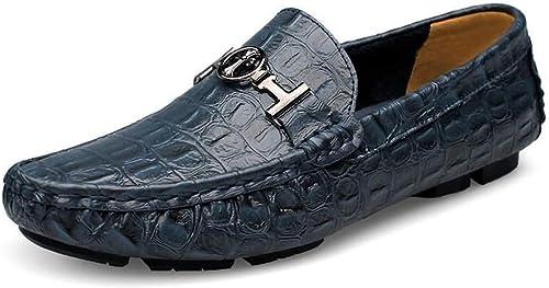 ZHRUI Slip on chaussures for Hommes Conduite Confortable Sote Sole Non Slip Grande Taille Horsebit Loafters (Couleuré   Bleu, Taille   EU 42)