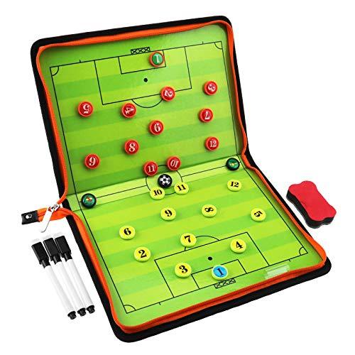 YINETTECH 32-TLG. Fußball Magnetisch Taktiktafel Set Faltbar Strategie Unterricht Zwischenablage Trocken Löschen Textmarker Tragbar