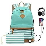 School Backpack for Girls Teens, College Bookbag Back Bag with USB Charging Port
