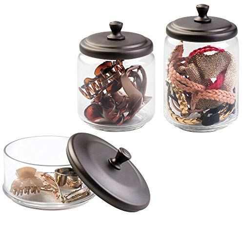 mDesign Glass Apothecary Canister Jar for Bathroom Vanity Countertops - Makeup and Hair Accessory Storage Holders - Organize Combs, Clips, Barrettes, Bobby Pins - Set of 3, Varied Sizes - Clear/Bronze