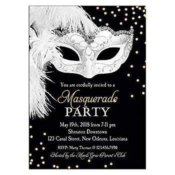 Masquerade Invitation - ANY Wording - Carnival Masquerade Ball Mardi Gras Party