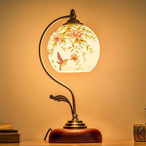 OOFWY LED E27 Lampe de Table Creative pour chambre à coucher salon décoration éclairage main peint verre fer forgé lampe chevet rond lampe de bureau, flowers and birds lamp