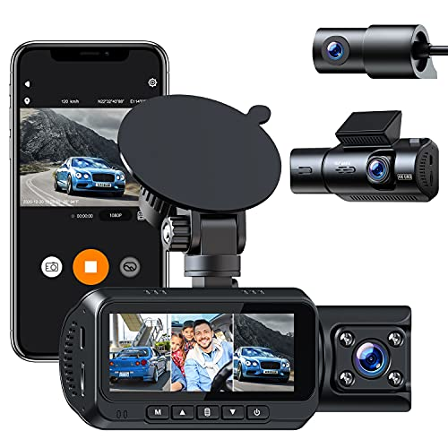 4K Dash Cam Built-in WiFi GPS,3 Channel Front Rear Cabin 1440P+1080P+1080P Car Dash Camera w/IR Night Vision, G-Sensor, Parking Monitor, Mobile APP, WDR, Loop Recording, 256GB Supported