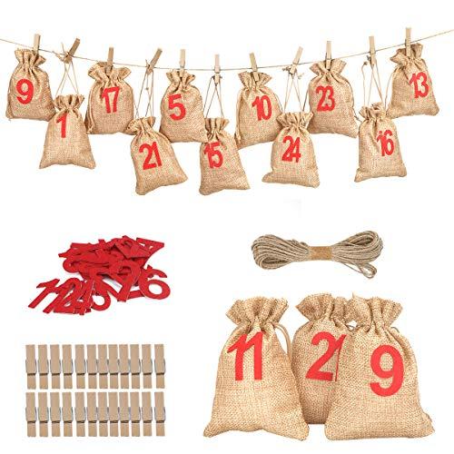 Herefun 24 Calendario dell'avvento, Avvento Calendario Avvento da Riempire, Calendario Dell'avvento con 1-24 Adesivi Numerici, Forniture per Decorazioni Natalizie (1)