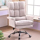 SHANGU Leather Boss Chair, Ergonomic Adjustable High Back Recliner,Dutch Fleece Home Office Chair,Swivel Soft Seat with Padded Arm,for Computer Game/Executive/Rest