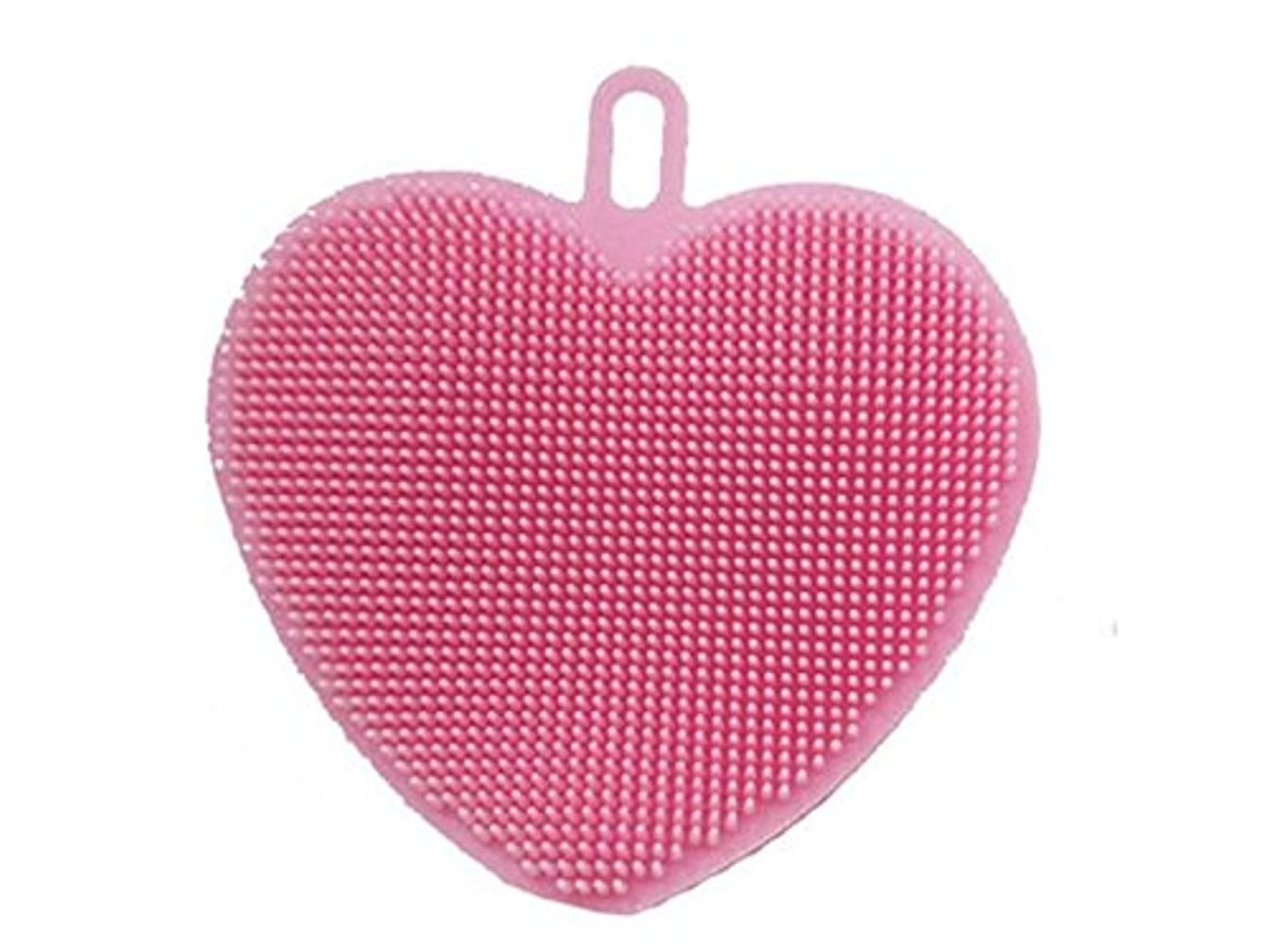キャプション繊維ぼろOside シリコンハート型クリーニングブラシキッチン洗濯ツールスクラバー(ピンク)