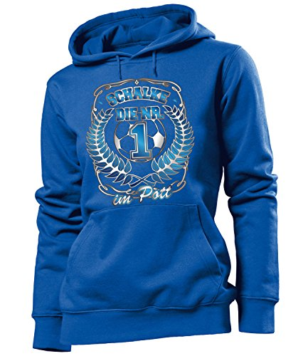 love-all-my-shirts Schalke die Nr 1 im Pott 4628 Fussball Frauen Damen Hoodie Pulli Kapuzen Pullover Fan Artikel Geburtstags Geschenk Partner Trikot Lock Blau XL