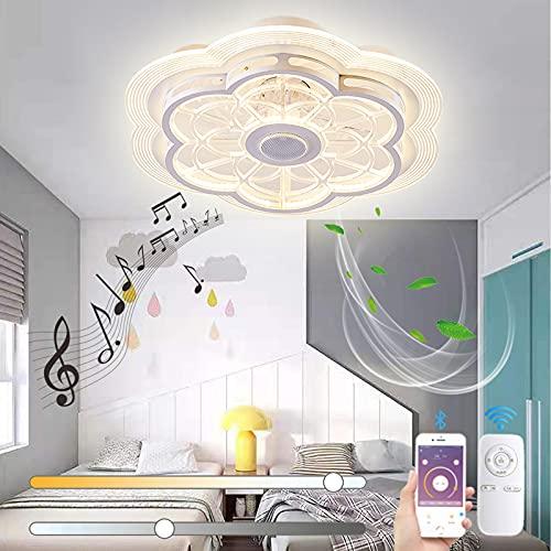 VOMI Silencioso Ventilador de Techo con Luz, Regulable Luz del Ventilador con Mando a Distancia LED Lámpara de Techo Moderno Música Ventilador con Bluetooth Altavoz para Dormitorio Salón