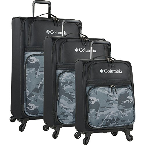 Columbia 3 Piece Expandable Spinner Luggage Set, Black Camo