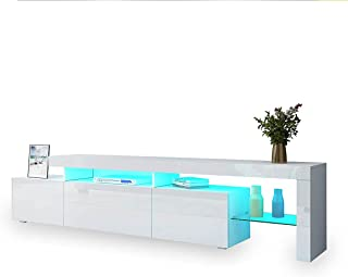 TV Storage Cabinet Television Unit LED Lights High Gloss Front Modern Furniture 1 Drawer Stand Console White