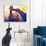 Pintura sin Marco Dos Caballos Mural decoración Animal en la Parte Superior Beso Lienzo Arte Pintura al óleo Lienzo ZGQ2057 60X80cm