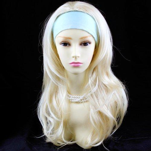 Blond Pâle 3/4 Perruque Pièce Extension de cheveux Longue Raide Dégradé Ondulée Demi Perruque