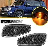 2 bombillas led de lente ahumada, luces intermitentes, marcadores indicadores laterales, luz ámbar compatible con Jeep Renegade 2015-2021