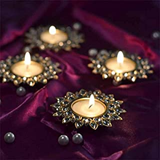 Homesake® Crystal Diya with Tea Light Gold Plated Candle Holder for Home Decoration, diwali decorations items for home Mul...
